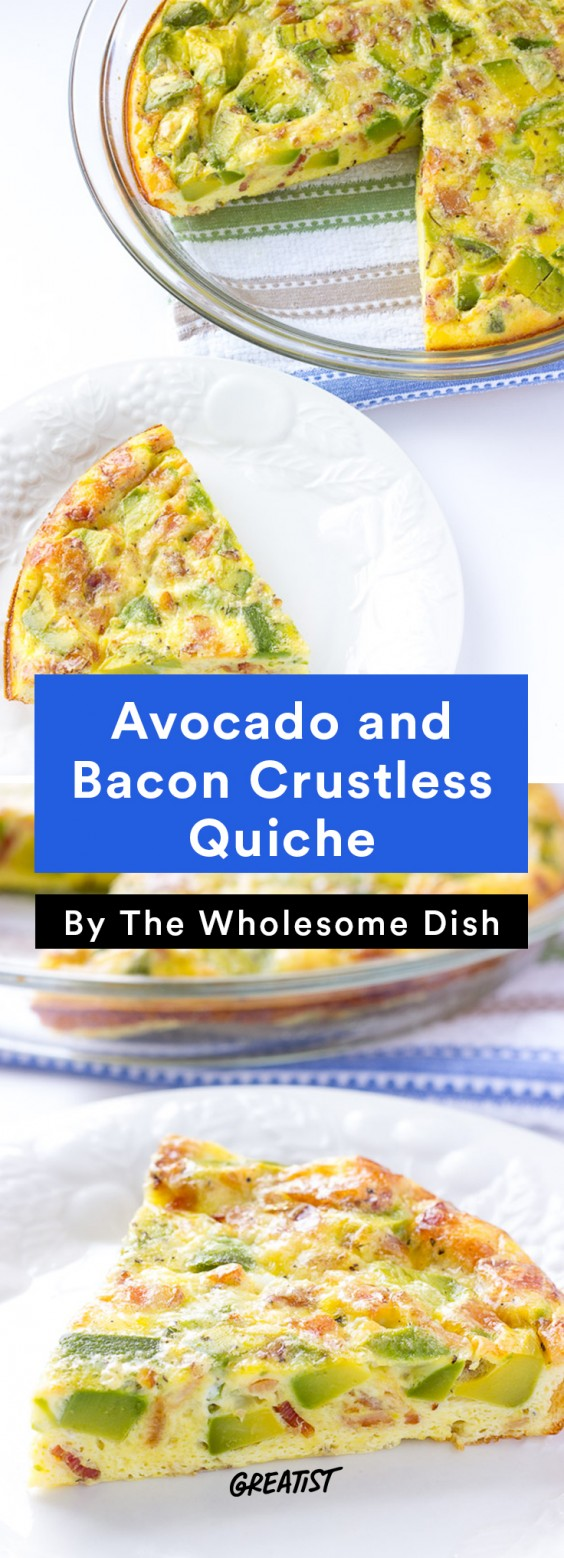 Avocado and Bacon Crustless Quiche Recipe