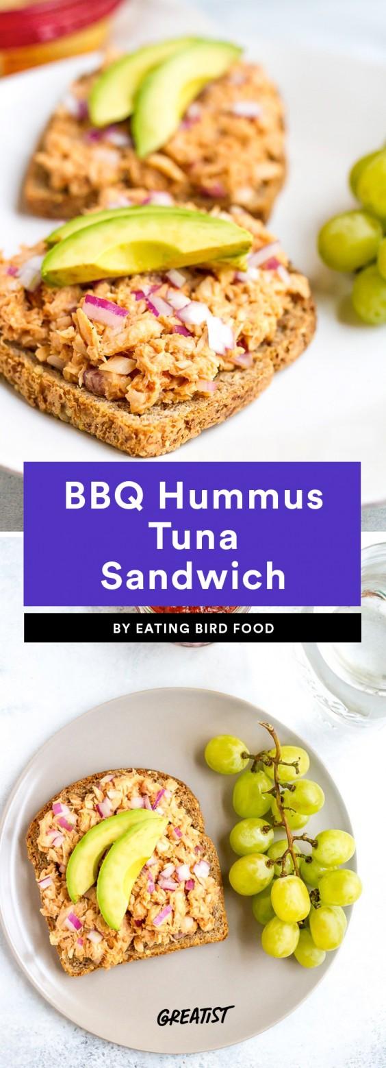 BBQ Hummus Tuna Sandwich