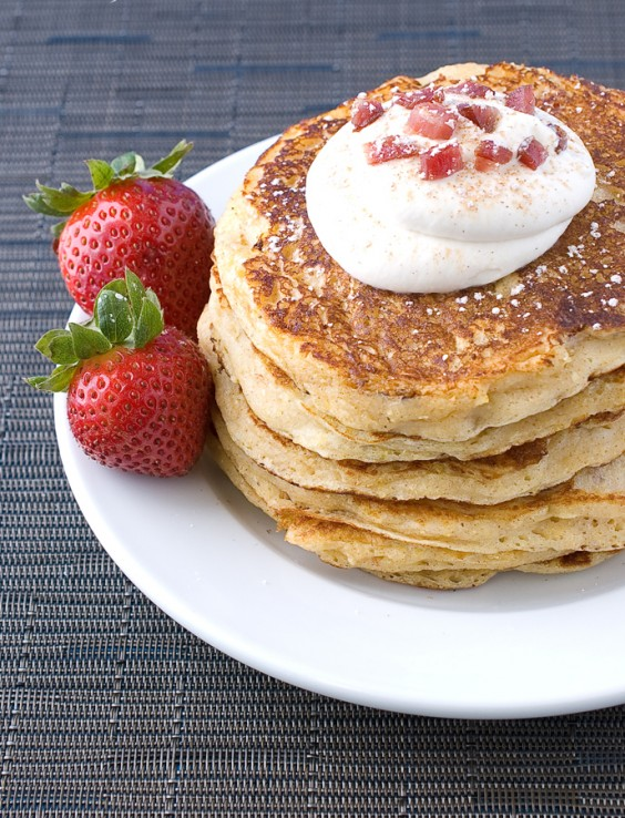 Bacon Polenta Pancakes with Maple Whipped Cream