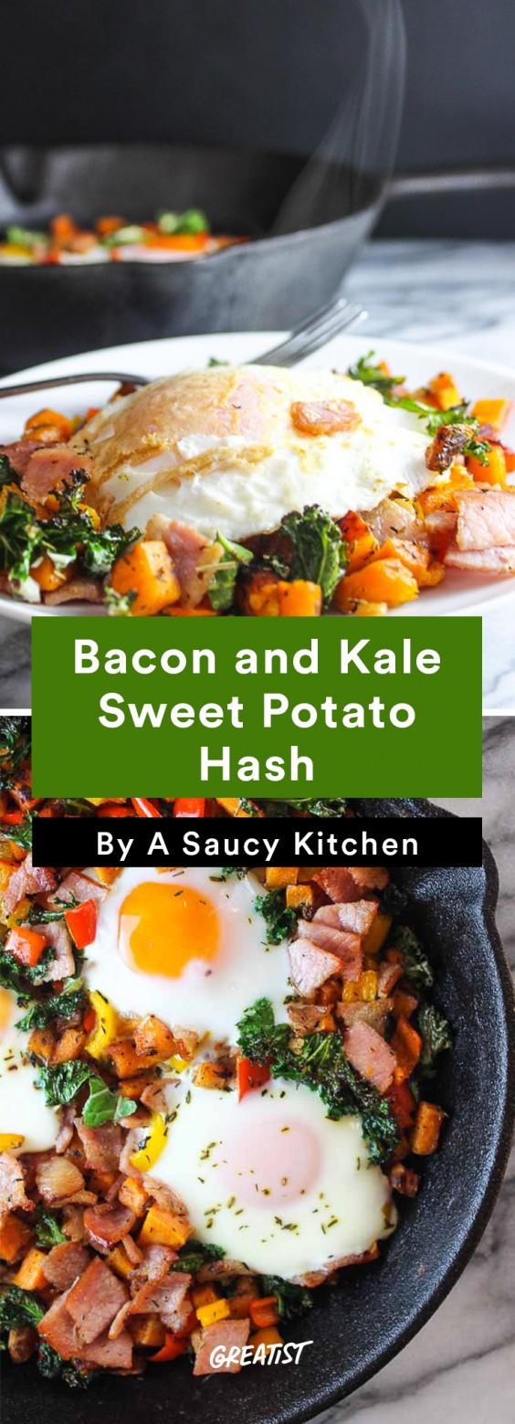 Sweet Potato Hash: Bacon and Kale