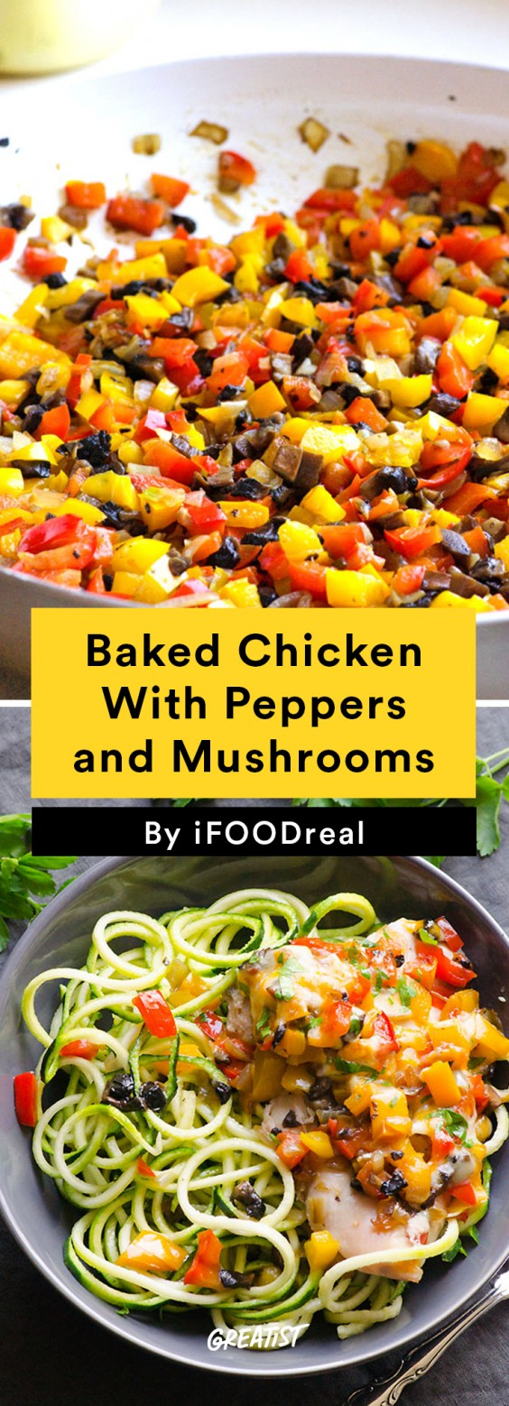 Baked Chicken with Peppers & Mushrooms