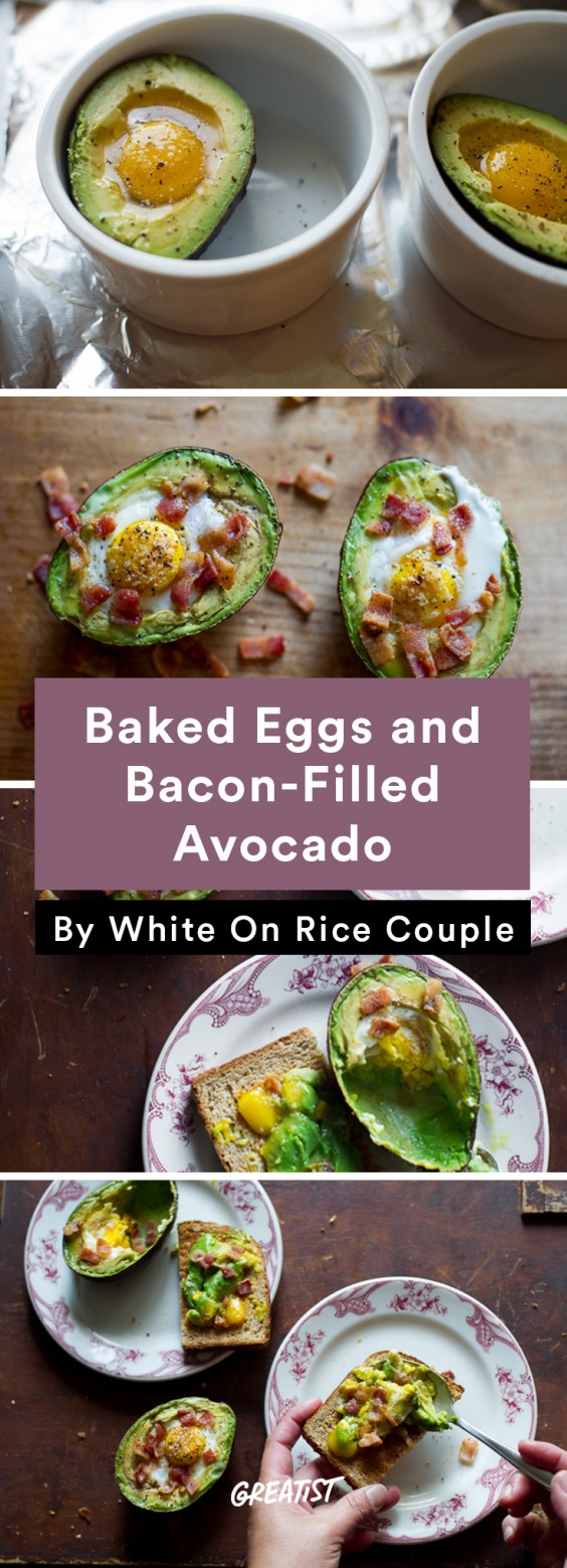 Stuffed Avocados: Baked Eggs and Bacon