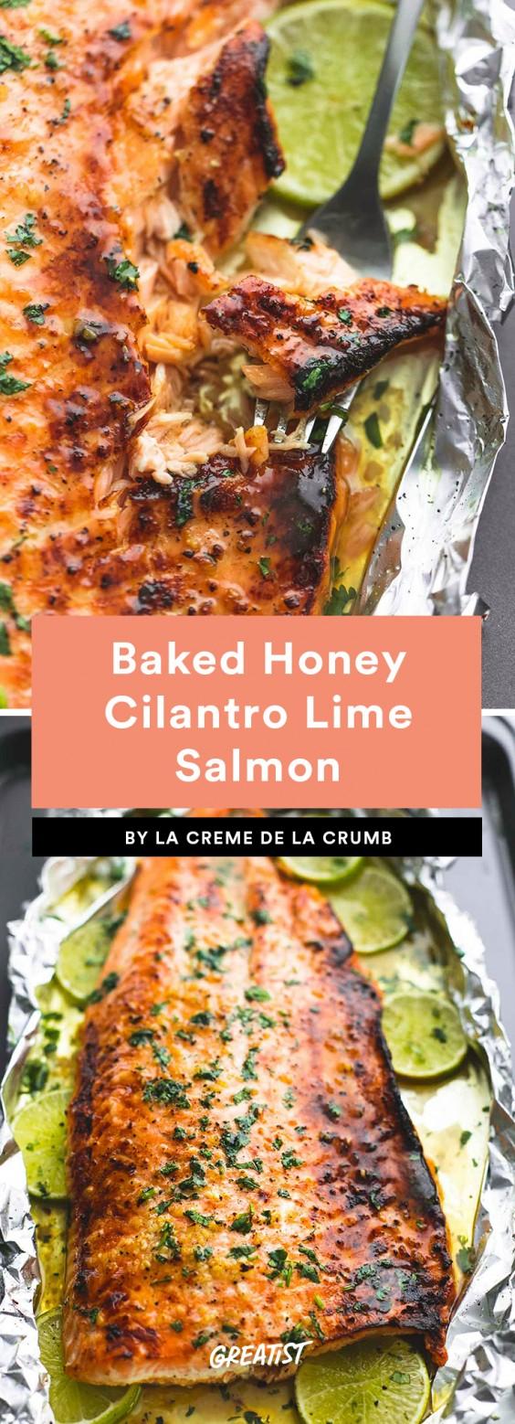 Baked Honey Cilantro Lime Salmon