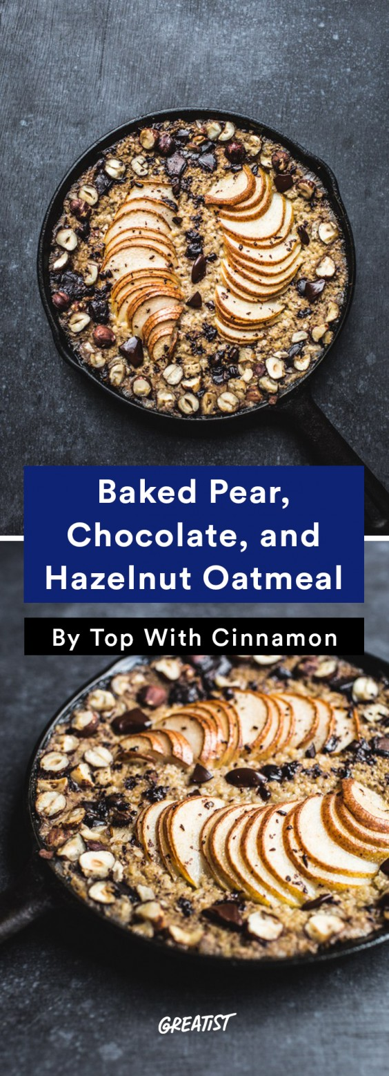 Baked Pear Chocolate Oatmeal