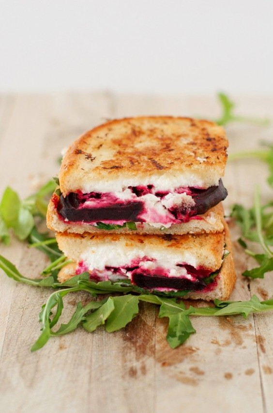 Beet, Arugula, and Goat Cheese Grilled Cheese