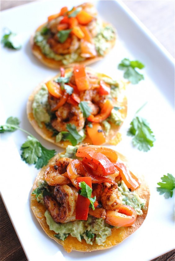 Shrimp: Guacamole Tostada