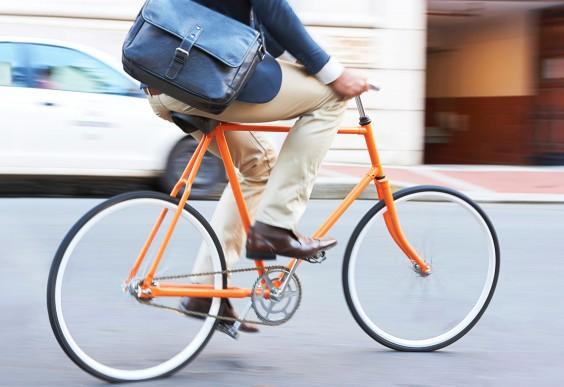Man Riding His Bike to Work