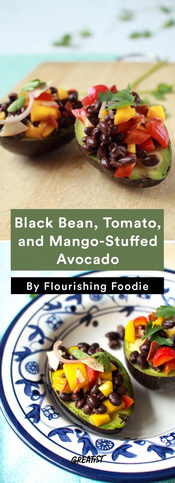Stuffed Avocado: Black Bean, Tomato, and Mango