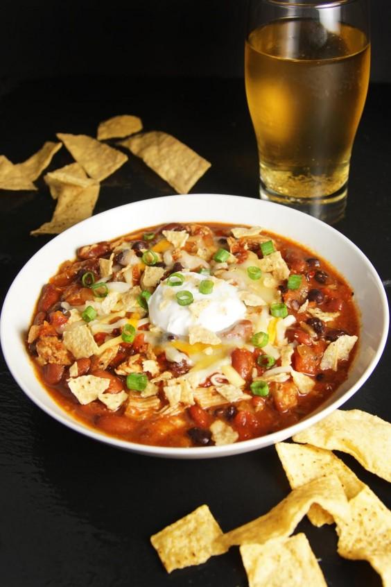 1. Slow Cooker Fiesta Chicken Chili