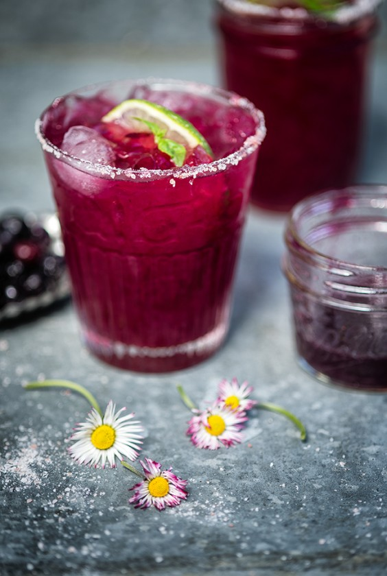 herb cocktails: Blueberry Basil Margarita