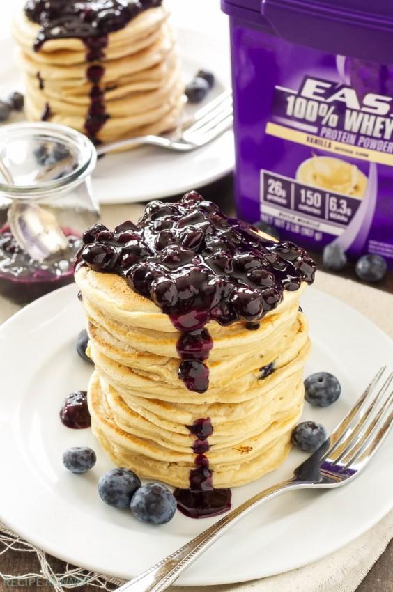 Blueberry Vanilla Protein Pancakes