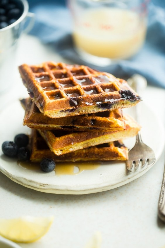 Blueberry Paleo Protein Waffles Recipe