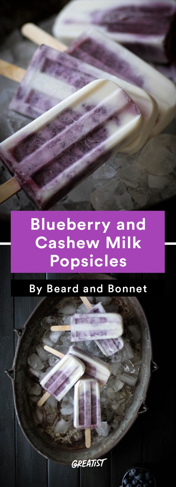 Cashew Milk roundup: Blueberry and Cashew Popsicles