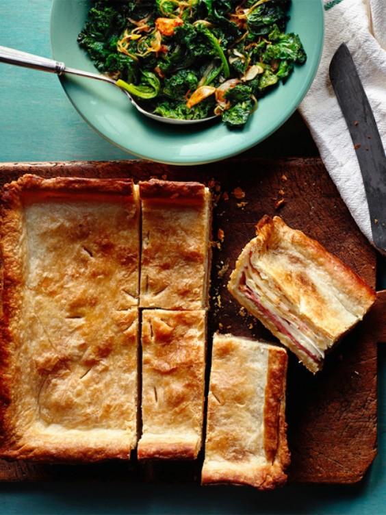 1. Ham and Swiss Slab Pie