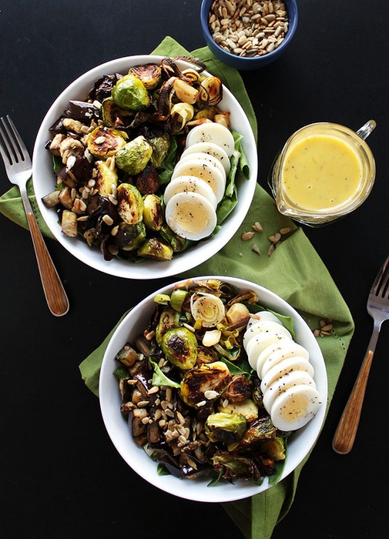 Buddha bowls: Brussels Sprouts and Eggplant