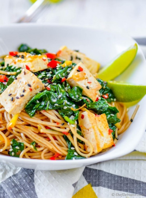 Tofu Recipes: Buckwheat Soba Noodles With Spinach Coconut Lime Tofu