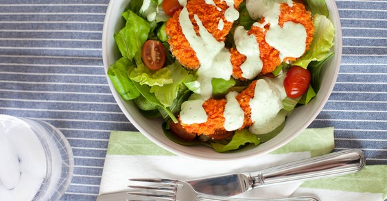 Buffalo Chicken Salad With Creamy Avocado Ranch Dressing