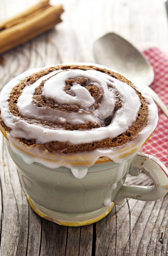 paleo cinnamon roll in a mug