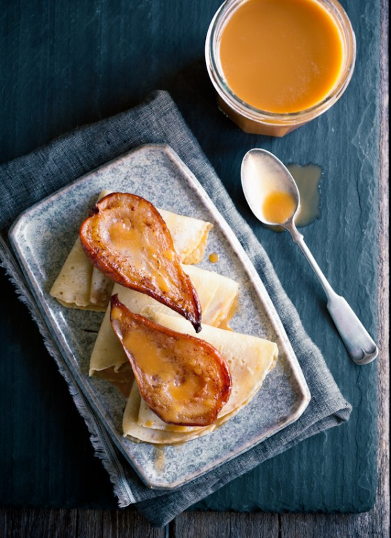 Cajeta with Crepes and Roasted Pears