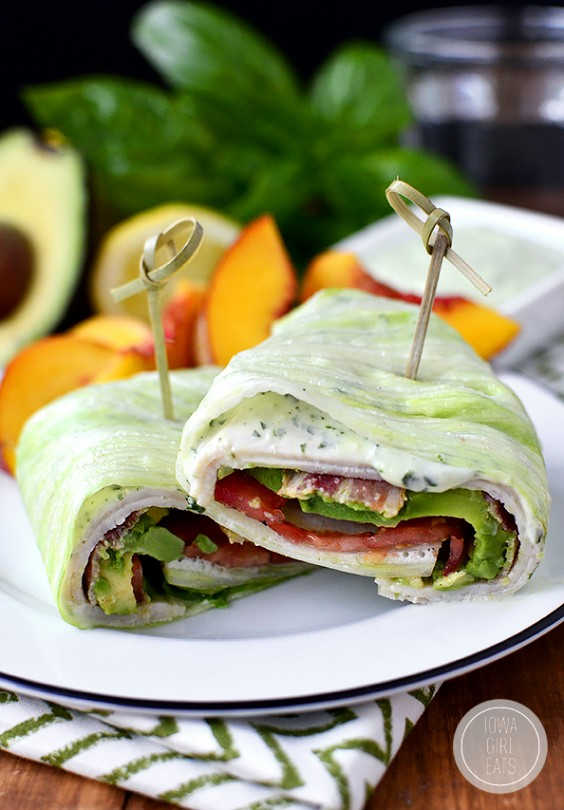 California Turkey and Bacon Wraps With Basil Mayo