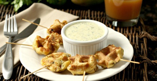 Caribbean Shrimp Stuffed Waffle Pops and Mango Cilantro