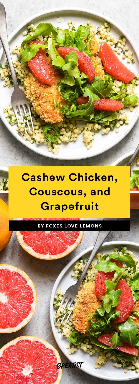 Cashew Chicken, Couscous, and Grapefruit Recipe