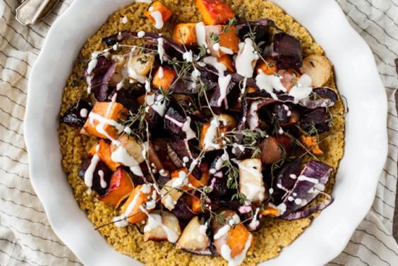 Root Vegetable Pie With Quinoa Crust and Cashew Cream