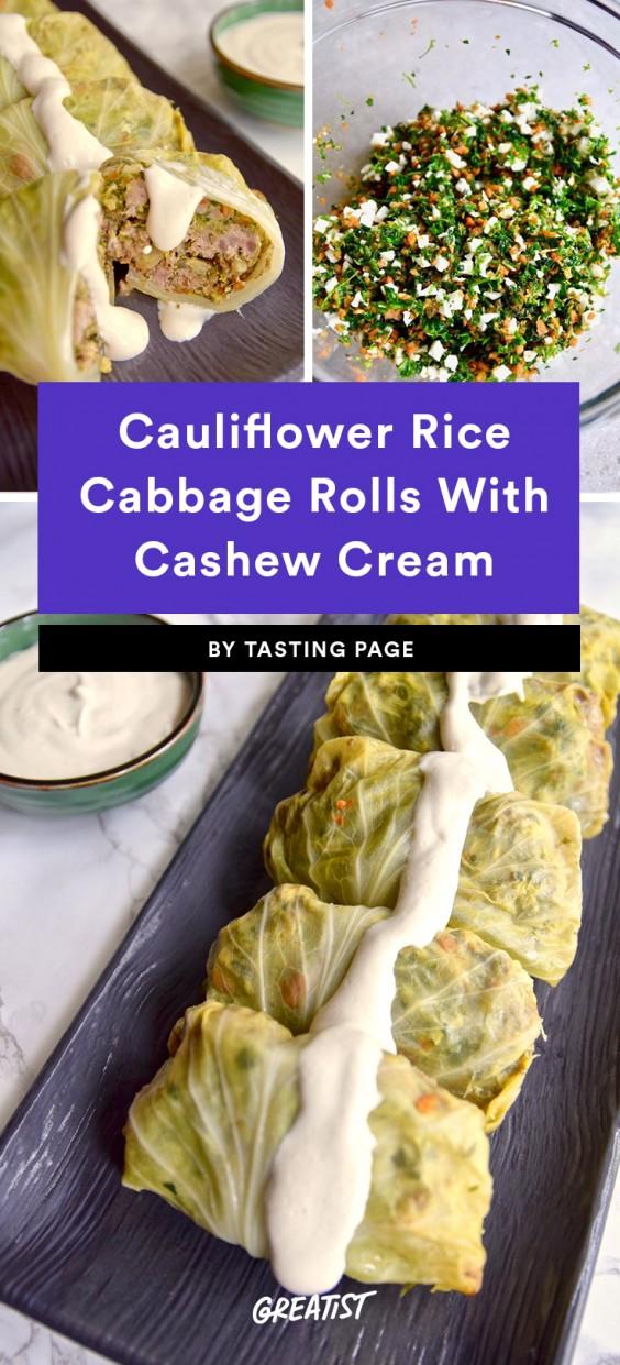 Cauliflower Rice Cabbage Rolls With Cashew Cream Recipe