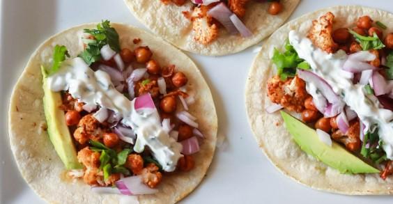 Roasted Cauliflower Chickpea Tacos With Cilantro Lime Crema