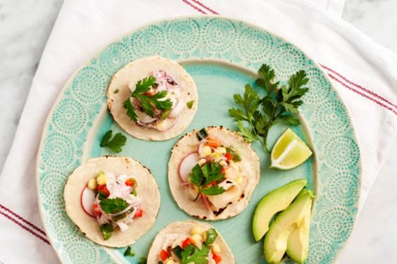 "41 Guilt-Free Super Bowl Snacks: Mini Veggie ""Ceviche"" Tacos"