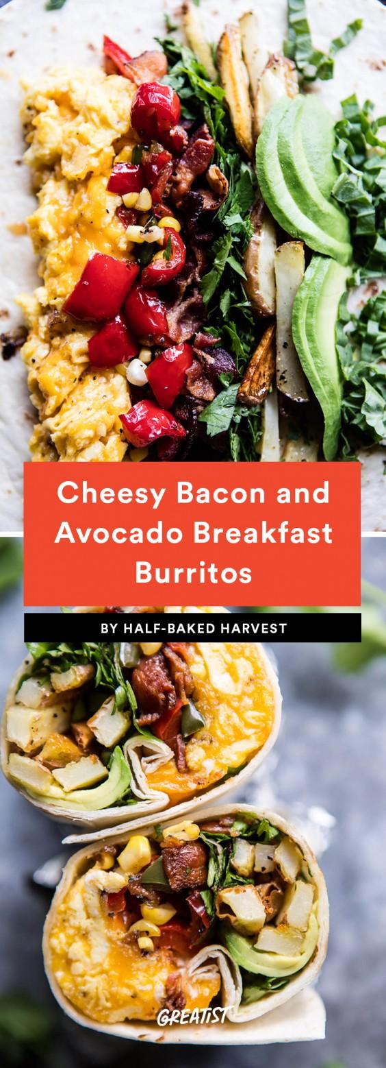 Cheesy Bacon and Avocado Breakfast Burrito Recipe