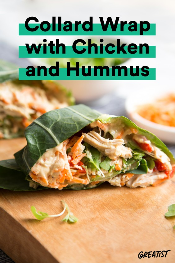 Collard Wrap with Chicken and Hummus
