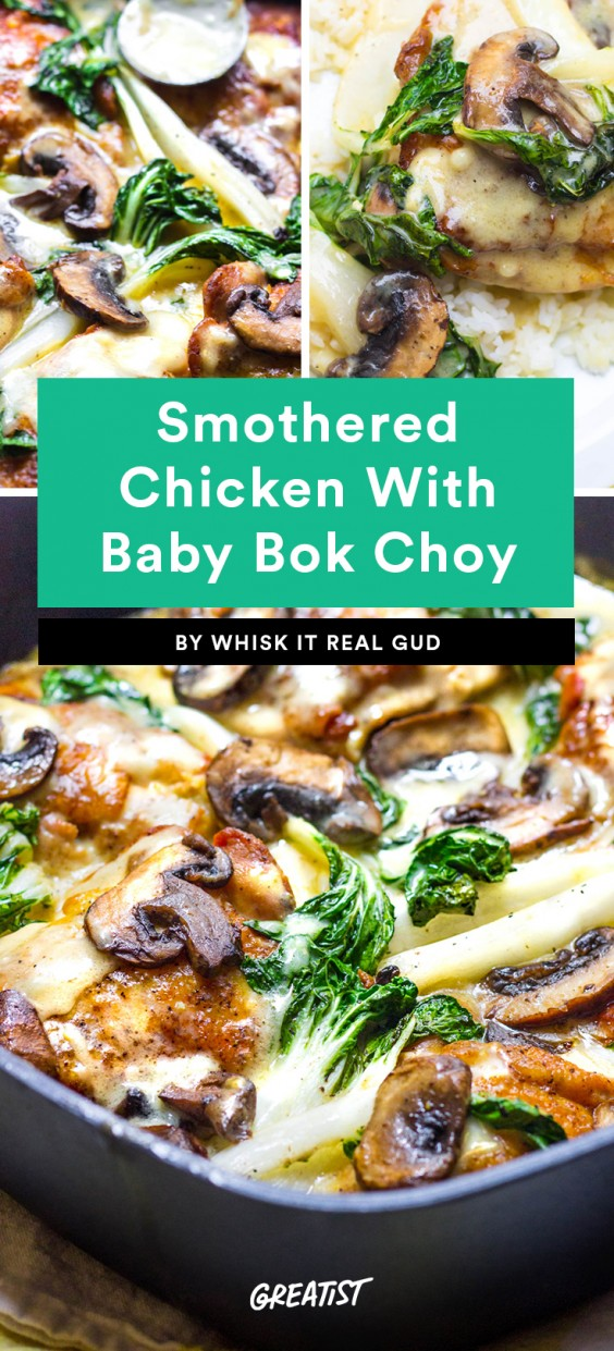 Smothered Chicken With Baby Bok Choy