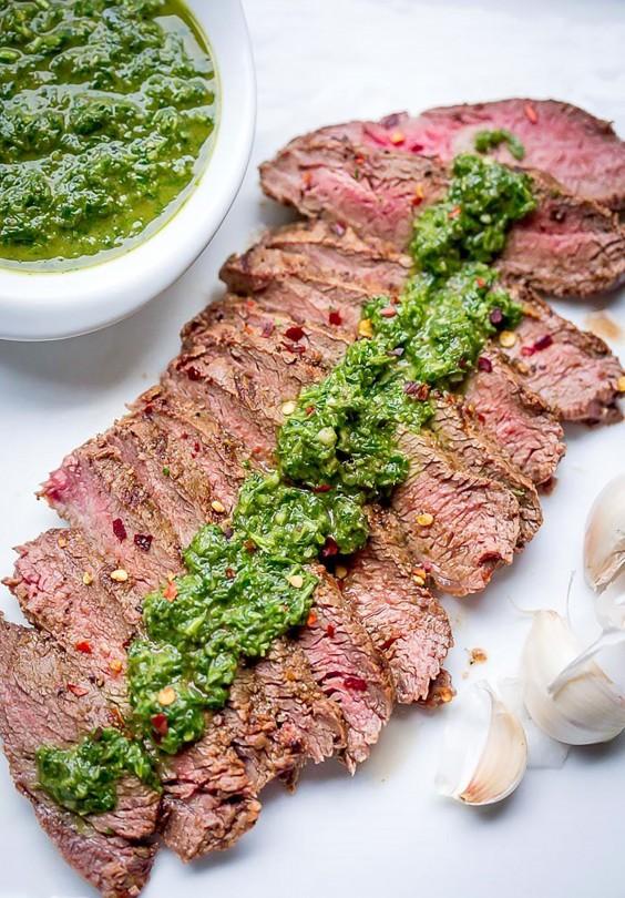 Grill Pan Flat Iron Steak With Chimichurri Sauce