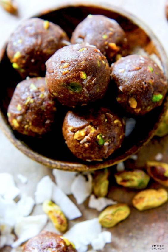 Chocolate Coconut Pistachio Bites