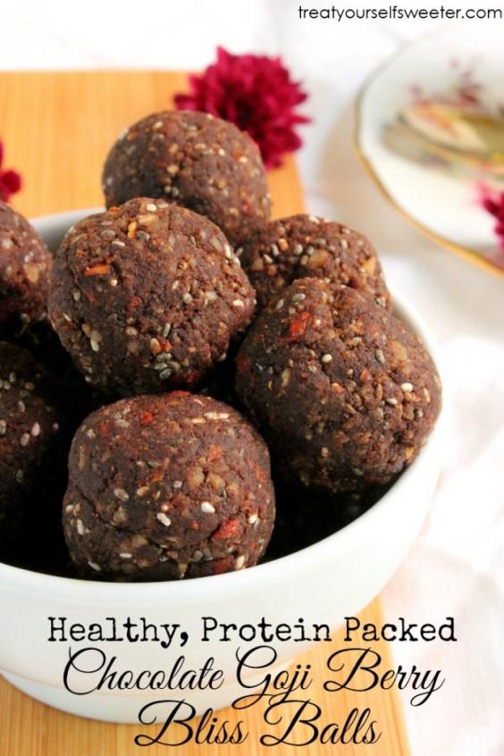 Chocolate Goji Berry Protein Bliss Balls