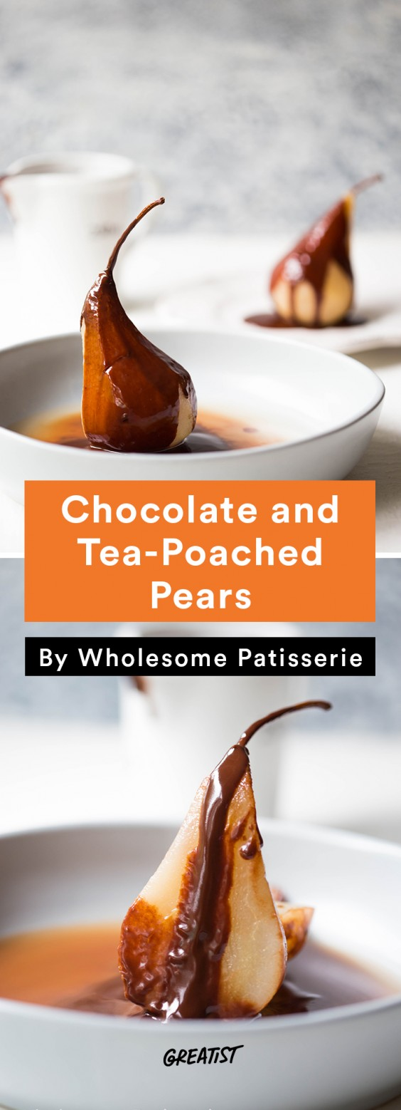 Chocolate Tea Poached Pears