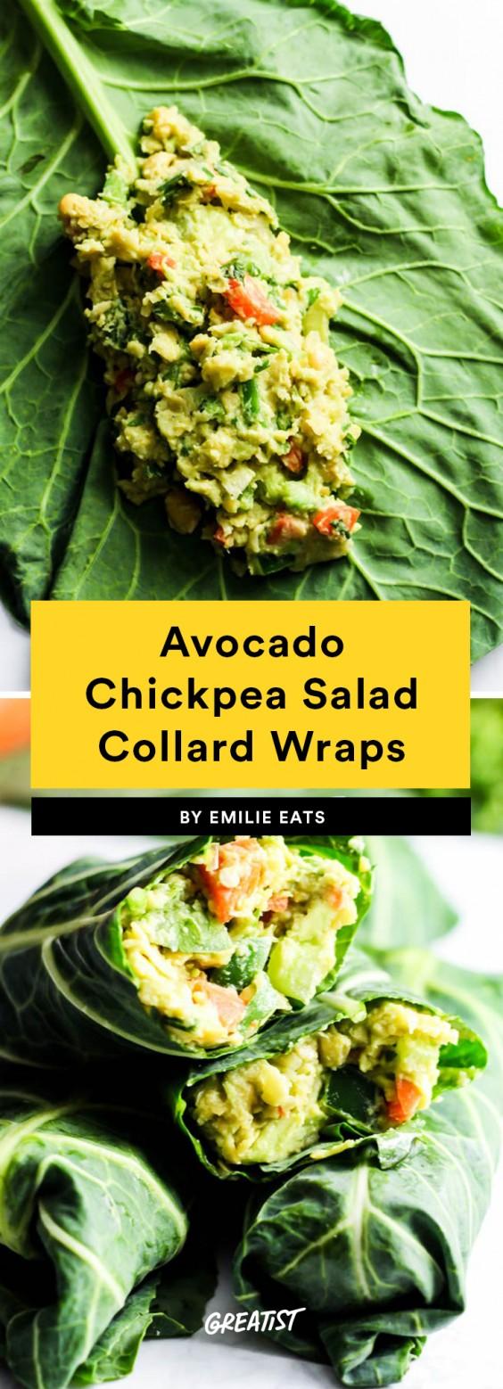 Avocado Chickpea Salad Collard Wraps Recipe