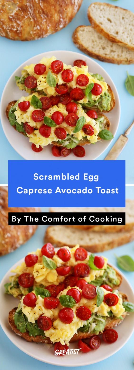 Scrambled Egg Recipes: Scrambled Egg Caprese Avocado Toast