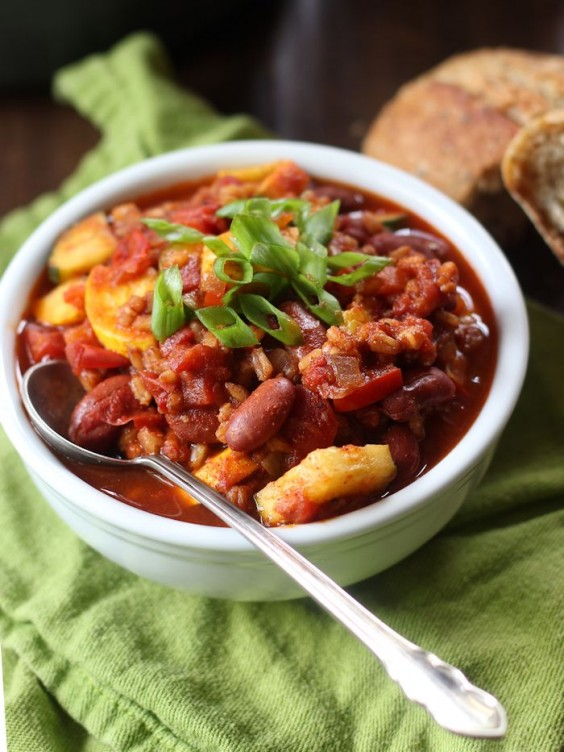 20. Farro Chili with Summer Squash and Red Beans