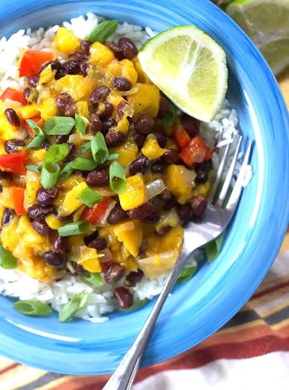 Healthy Grain Bowls: Black Bean, Mango, and Coconut Rice Bowls