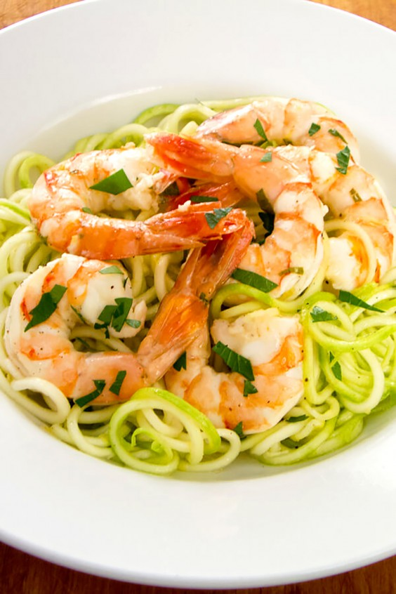 Paleo Dinners: Garlic Roasted Shrimp With Zucchini Pasta