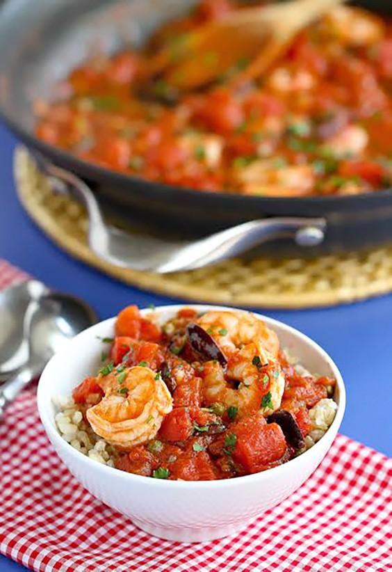 Healthy Grain Bowls: Shrimp Puttanesca Rice Bowls