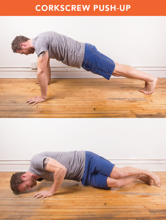 Corkscrew push-up
