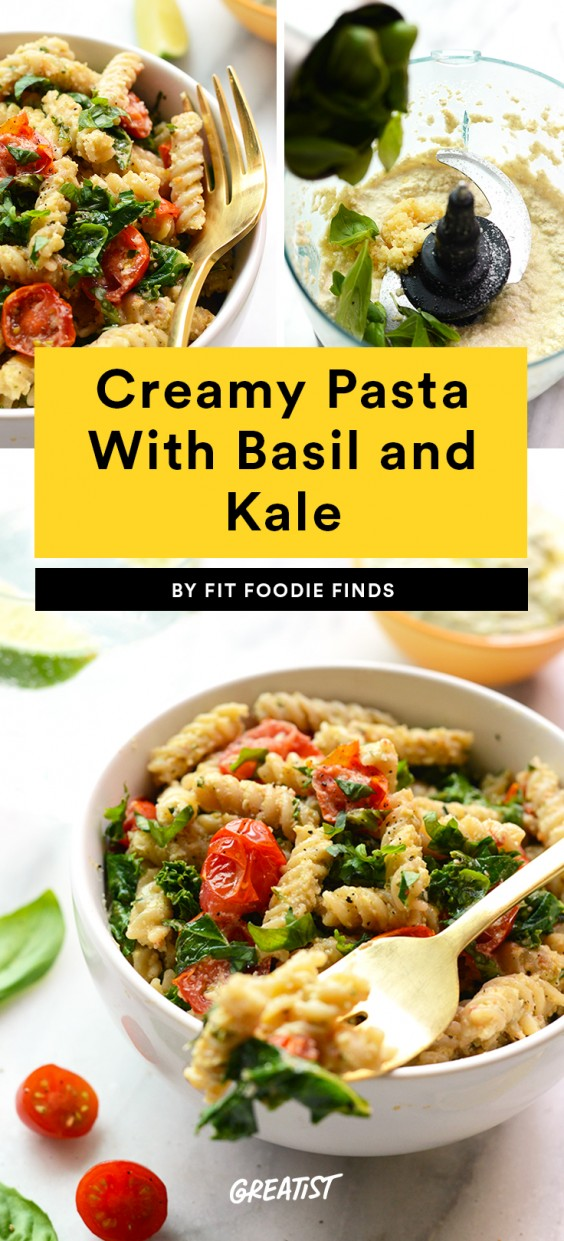 Creamy Pasta With Basil and Kale
