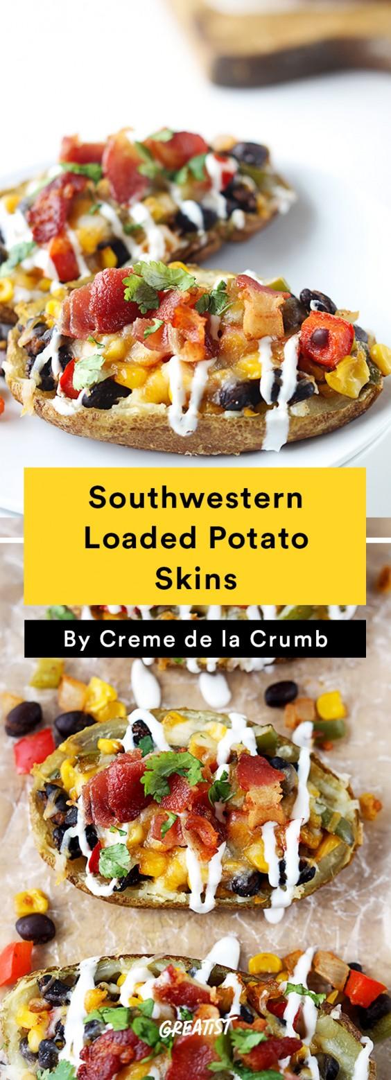 Southwestern Loaded Baked Potato Skins
