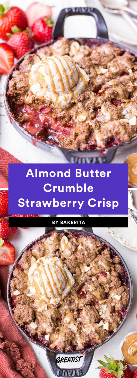 Almond Butter Crumble Strawberry Crisp