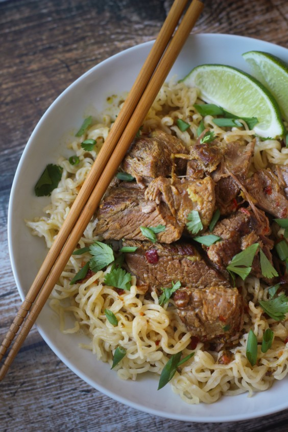 Crockpot Beef Curry with Ramen Noodles