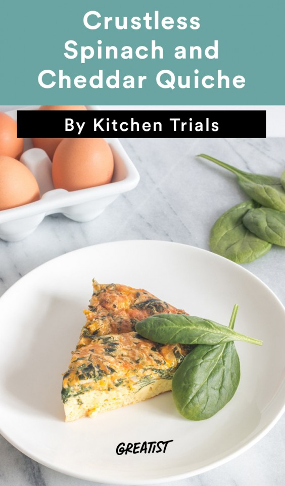 Crustless Spinach and Cheddar Quiche Recipe