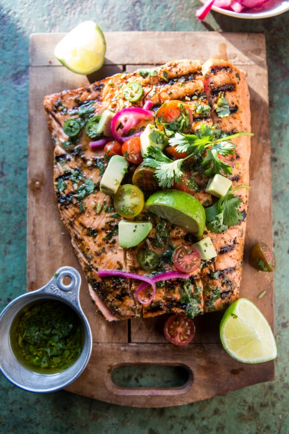 Superior Ideas For Dinner Party Part - 11: 2. Cuban Grilled Salmon With Tomato Avocado Salsa